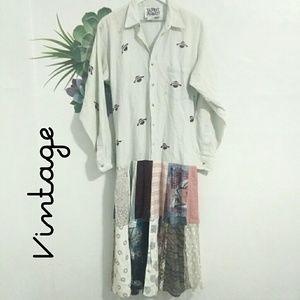 Vtg Donna Jessica Artisan Patchwork & Planet Dress